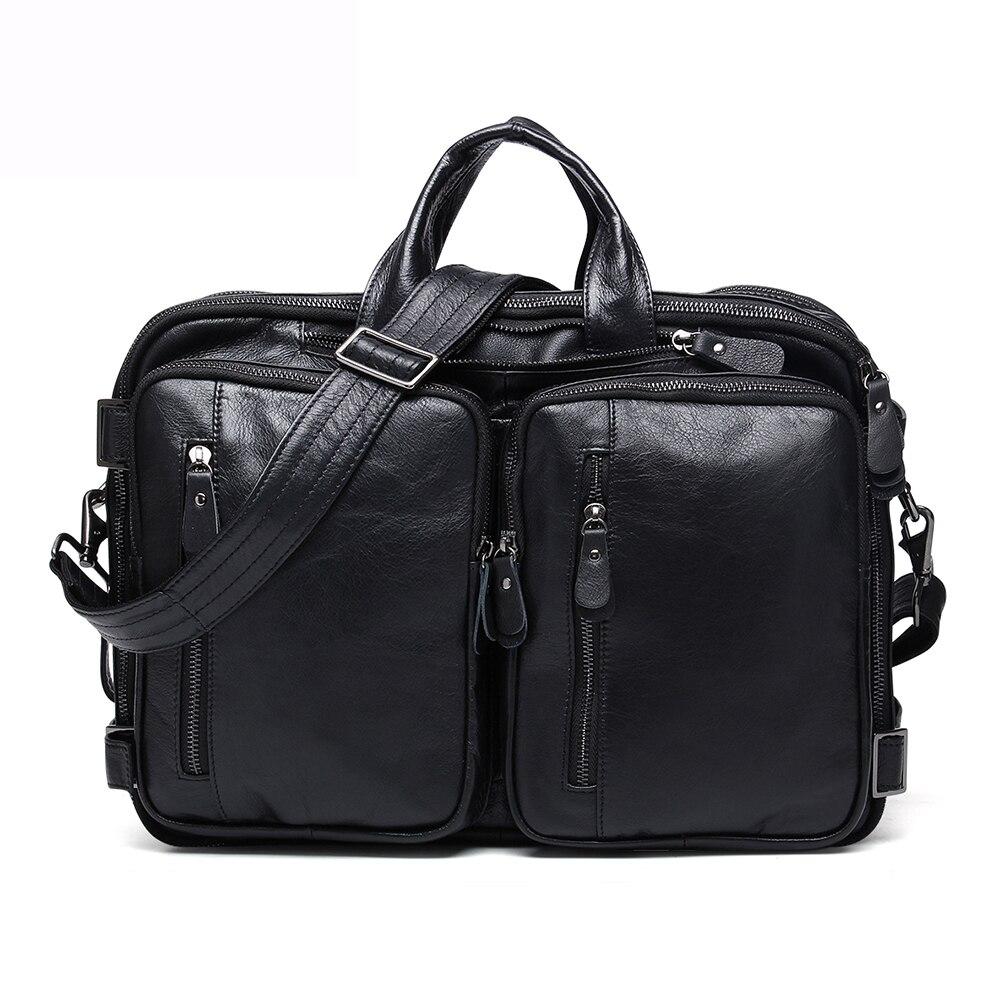 JOGUJOS Genuine Leather Vintage Men Travel Bag Duffel Bag Men's Handbag Luggage Travel Bag Large Capacity Leather Shoulder Tote - 3