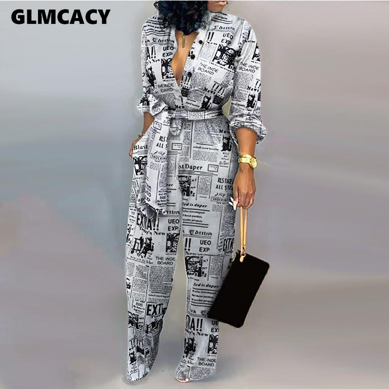 Women Jumpsuit Sexy Ladies Jumpsuits Party Long Pants Long Sleeve Jumpsuit Skinny Newspaper Print Outfits