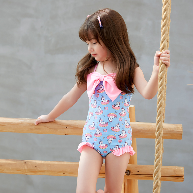 2019 New Products CHILDREN'S Swimwear Small Clear Girls One-piece Bikini Swimwear Sleeveless Lace-up GIRL'S Swimsuit