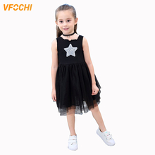 VFOCHI Girl Princess Dresses Summer Cute Girls Clothes Star Pattern Lace Baby Kids for 2-10Y Ball Gown