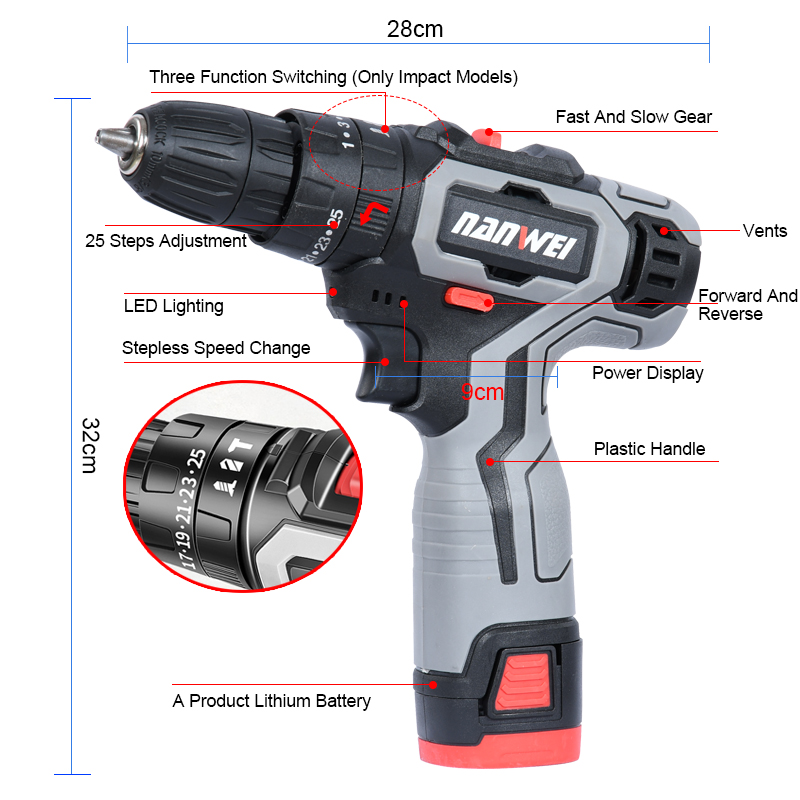 Power Drill Mini Impact Screwdriver Cordless 18VF Box Power Tool with Lithium-Ion Wireless Electric Battery Driver DC with