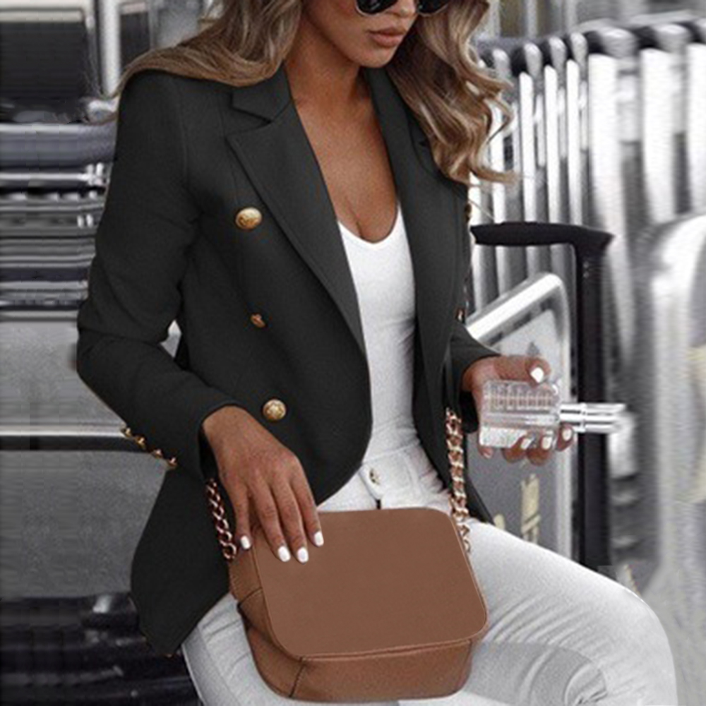 LITTHING Black New Solid Color Office Ladies Blazer Long Sleeve Loose Suit Coat Jacket Women Blazers Female Outerwear