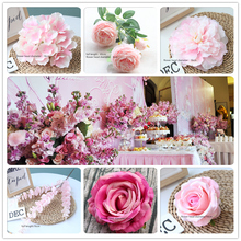 20pcs Pink Color Artificial Flower Wedding Rose Peony Hydrangea Plant Bouquet Decoration DIY Home Fake Flowers