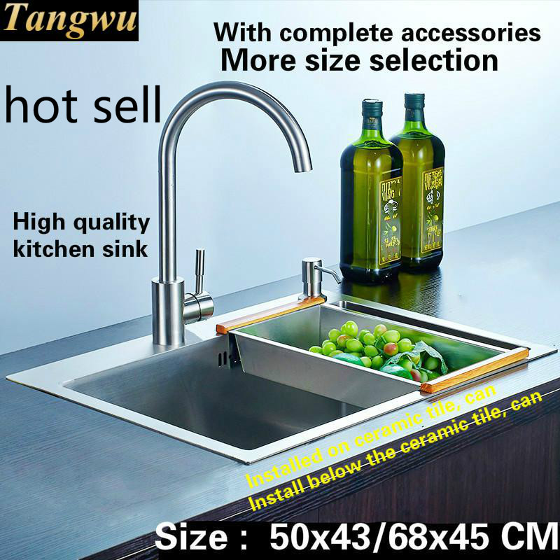 Free Shipping Apartment Hand-made Kitchen Sink  Thick Food Grade 304 Stainless Steel Single Slot  Hot Sell 50x43/68x45 CM