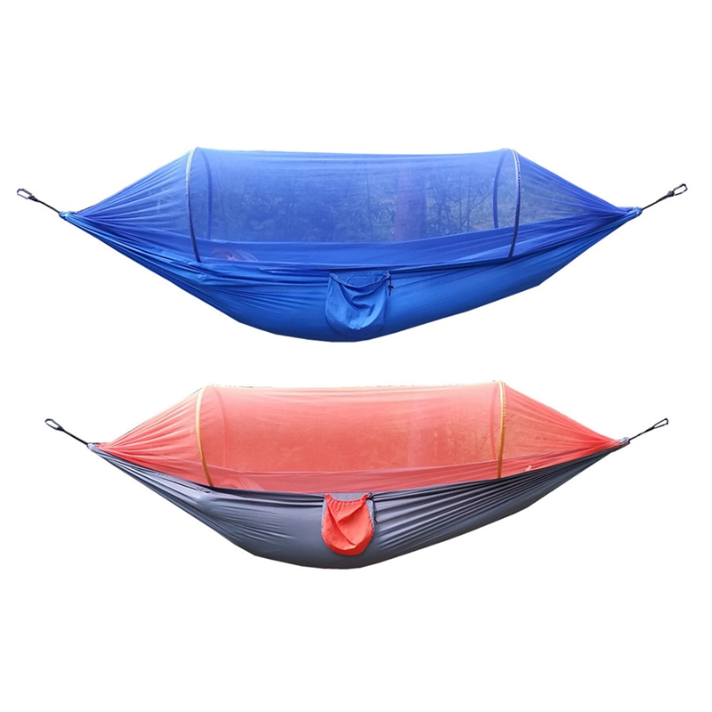 2Pcs Outdoor Camping Hammock With Mosquito Nets Hammock Tent Tied With Insect Nets Tear-Resistant Nylon Speed Open Mosquito Net