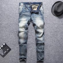 Włoski styl modne dżinsy męskie niebieskie w stylu Retro szczupła elastyczna Vintage projektant dżinsy męskie spodnie dżinsowe Streetwear dżinsy hip-hopowe Homme tanie tanio Zipper fly Kieszenie Stałe Denim RL639 Proste Medium W trudnej sytuacji JEANS Midweight Pełnej długości Stripe Retro Blue