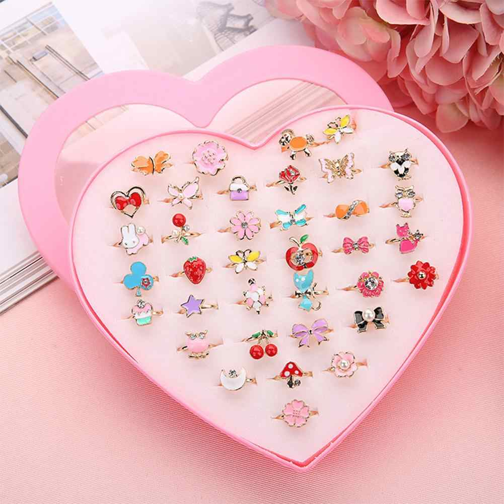 36pcs/box Korean Alloy Alloy Cartoon Children Ring Play House Toy Beautiy Tools for Girls