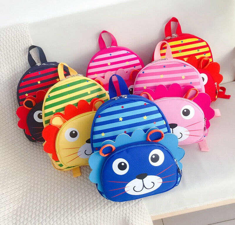 2020 New Toddler Kids Children Boys Girls Kawaii Cartoon 3D Lion Striped Backpack Schoolbag Shoulder Bag Rucksack