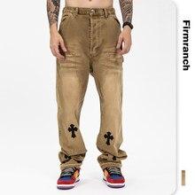 Firranch – jean en cuir pour hommes, nouvelle collection 2021, Jeans de grande rue chromés, pantalons droits marron, en Denim, pour Moto