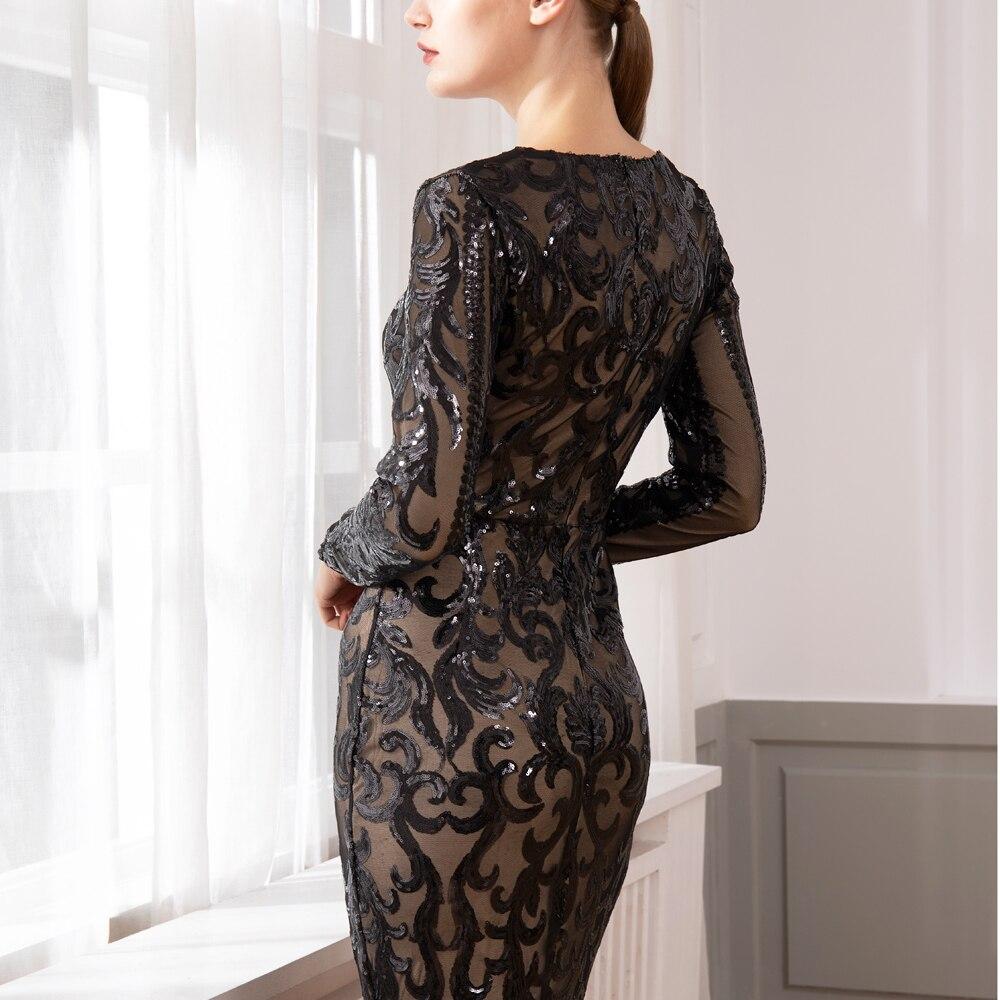 새로운 우아한 vestido 전체 소매 맥시 드레스 블랙 sequined 파티 드레스 스트레치 바닥 길이 bodycon 맥시 드레스-에서드레스부터 여성 의류 의  그룹 2