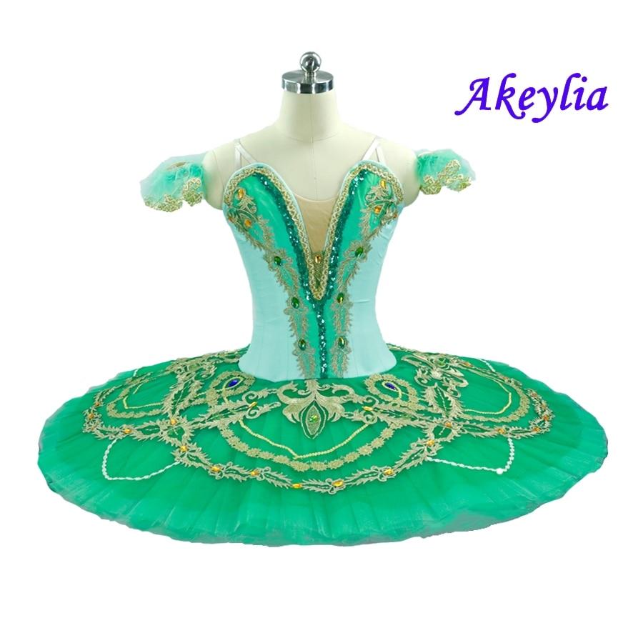 Fairy Doll Pancake Peformance Tutus Green Gold pancake tutus Competition Stage Costume omen Esmeralda Professional Ballet Tutu