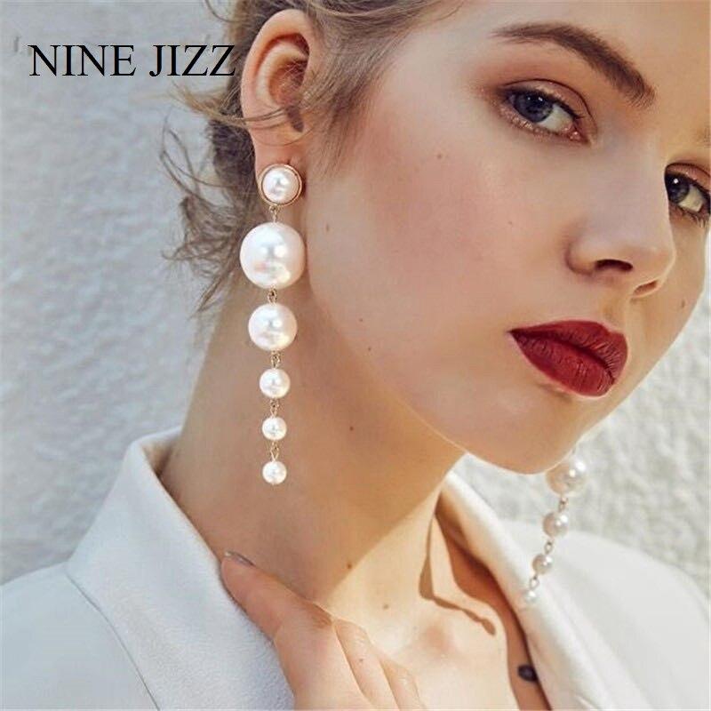 Ninejizz simulação pérola longo borla brincos feminino branco redondo pérola casamento pingente brincos moda coreano jóias brincos