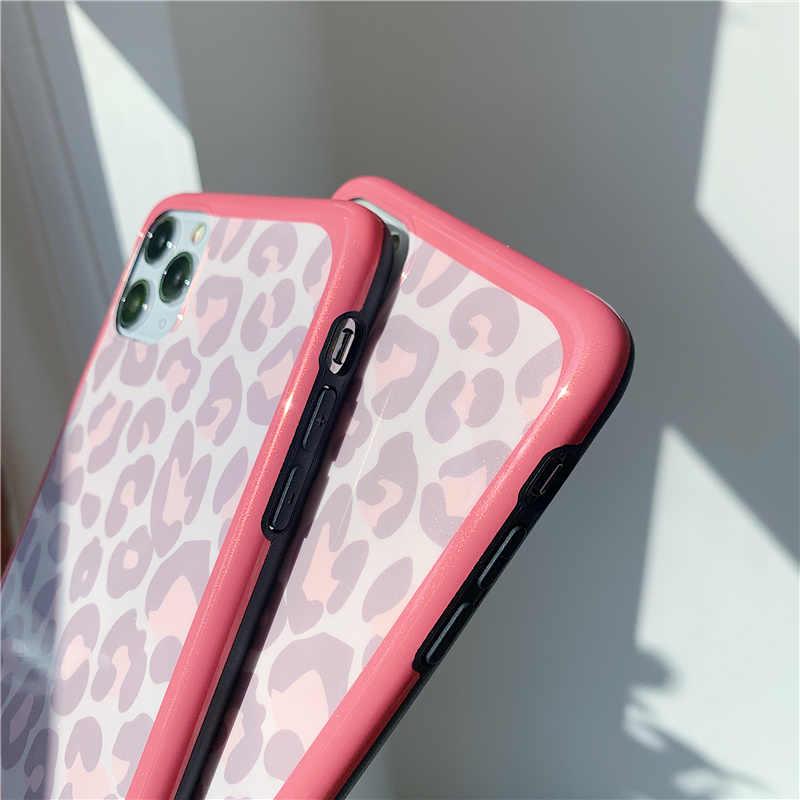 Manque de mode brillant paillettes poudre imprimé léopard coque de téléphone pour iphone 11 11Pro Max X XR XS Max 7 8 6 6s Plus couverture arrière