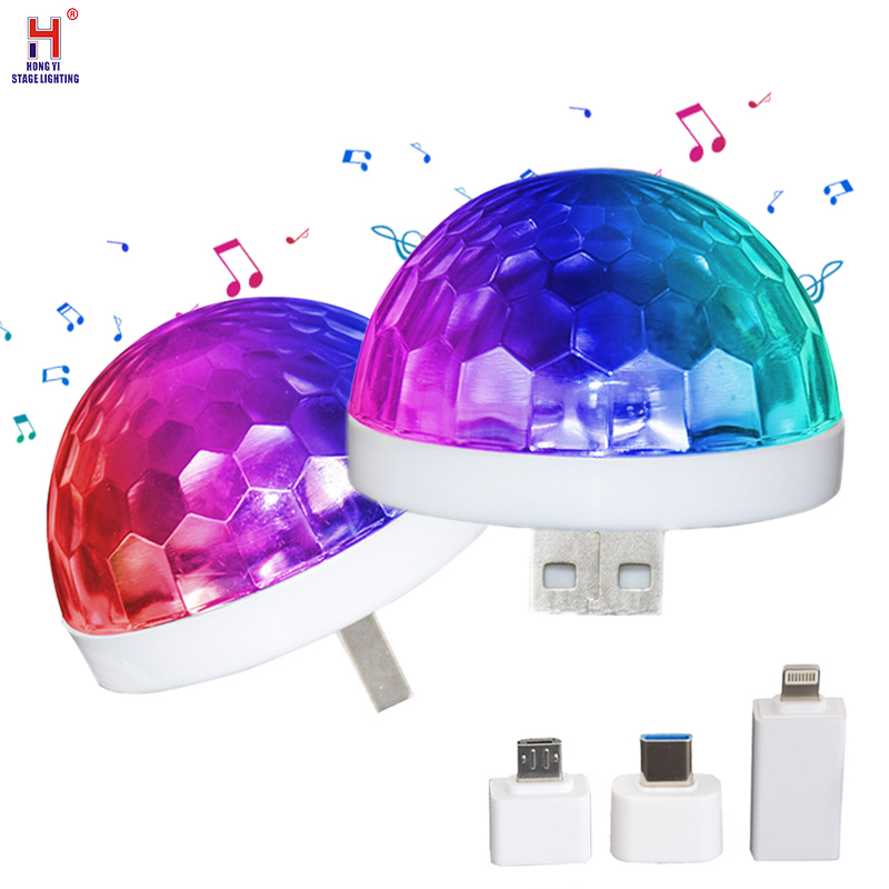USB Mini Disco Lights LED Small Magic Ball Sound Control Stage Lights Car Atmosphere Lights For Home Christmas Party Karaoke
