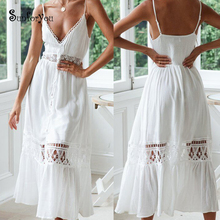 Ups Sarong-Robe Cover-Up Beach-Dress Cotton Swimwear Bathing-Suit Lace White Summer Patchwork