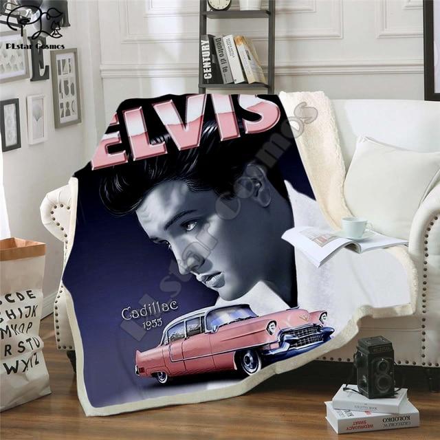 אלביס שתוקנה עיצוב שמיכת קטיפה 3d מודפס למבוגרים ספה שרפה צמר כיסוי מיטה לעטוף לזרוק שמיכת מיקרופייבר 11