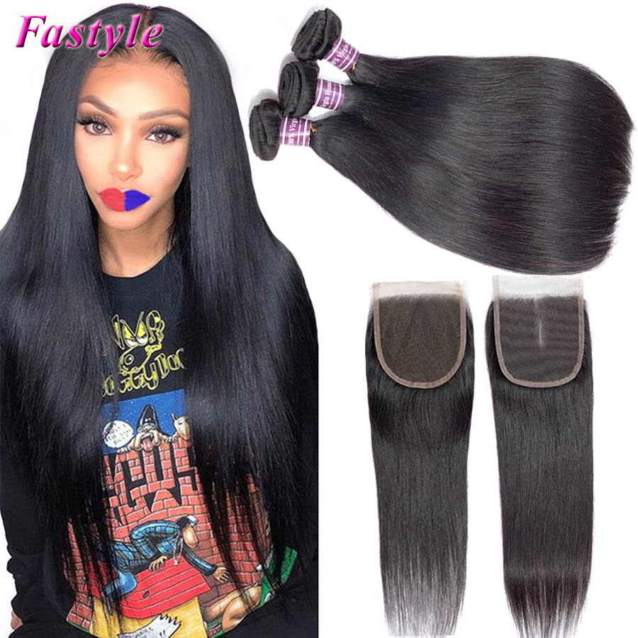 Atacado cabelo reto brasileiro 3 4 pacotes com fechamento do laço barato virgem humano remy cabelo sedoso extensões de tecer em linha reta