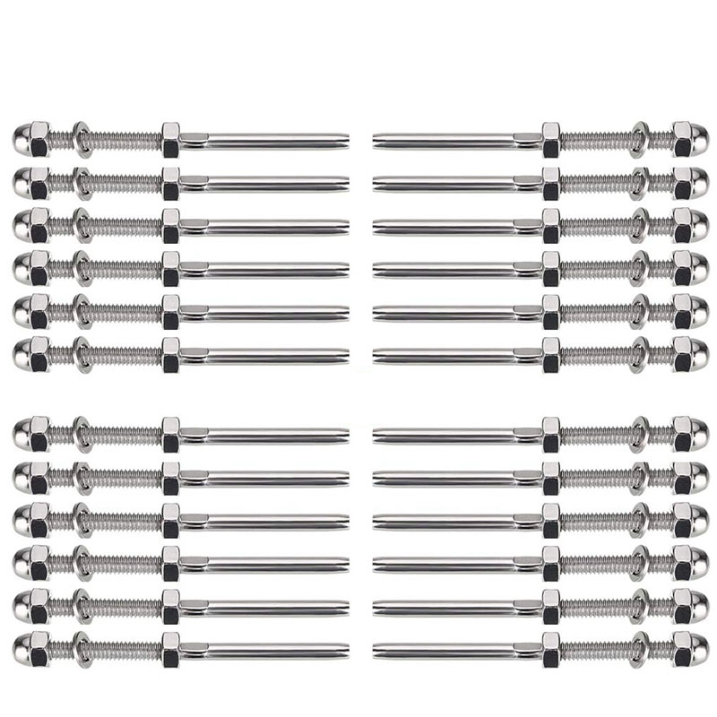 24 Packs Swage Threaded Stud Thread Terminal Stud Deck Cable Hardware For 1/8 Inch Deck Cable Railing