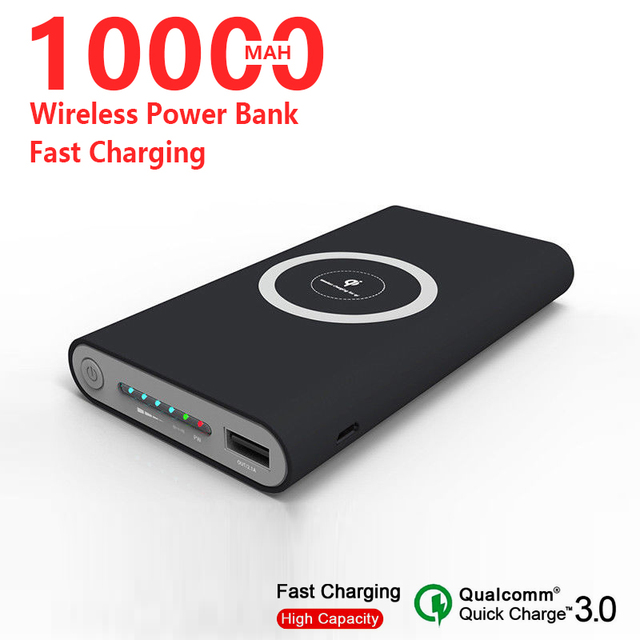 Wireless Charger 10000mAh Portable Power Bank For Iphone Xiaomi Quick Charger Powerbank Electric Quantity Display cheap Tollcuudda Li-polymer Battery Support Quick Charging wireless charging Double USB for Tablet for Camera for Smartphone CN(Origin)