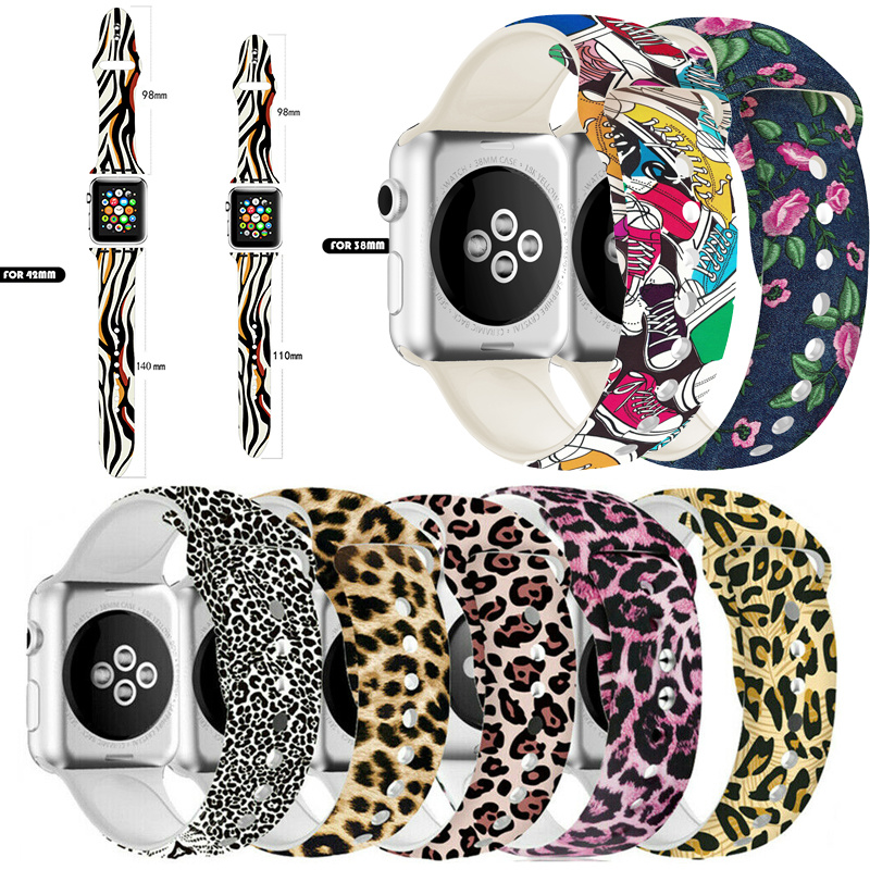 Leopard Printed Silicone Strap Loop for Apple Watch 44mm 42mm 40mm 38mm Sports Band for IWatch Series <font><b>5</b></font> <font><b>4</b></font> <font><b>3</b></font> 2 <font><b>1</b></font> Funny Wristband image