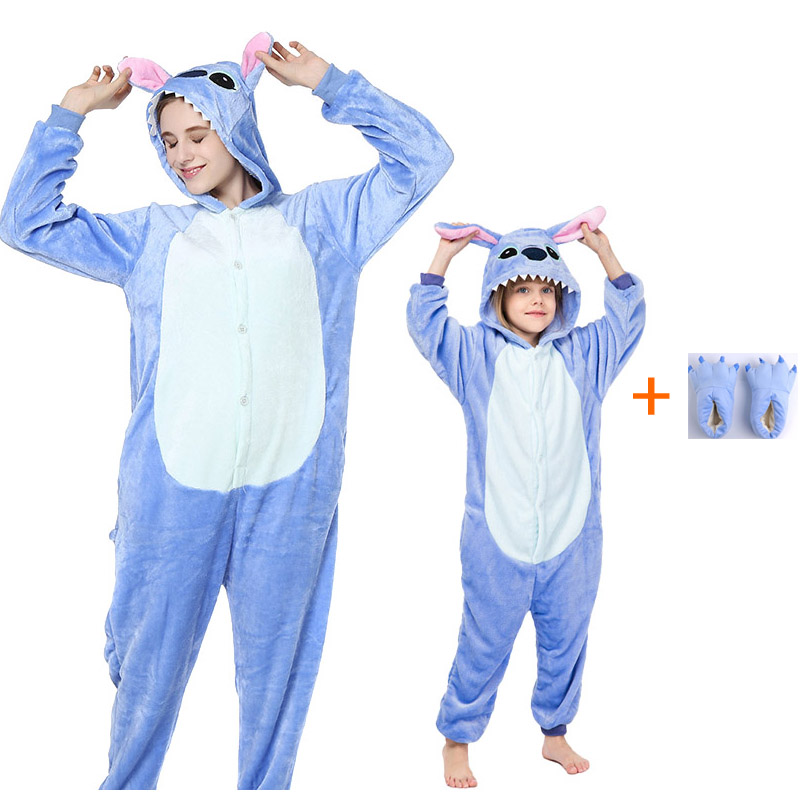 Adult Animal Unicorn Stitch Onesie Women Men Boys Girls Couple 2019 Winter Pajamas Suit Sleepwear Flannel Pijama