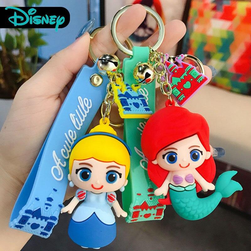 Lovely Snow White Alice Keychain Bag Accessories Keyring Woman Cute Cartoon Glue Drop Girl Mermaid Princess Key Chain