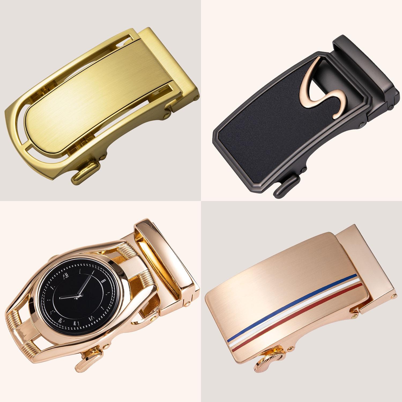 Luxury Gold Automatic Belts Buckle 3.5cm Ratchet Slide Buckle Belt Head Replacement Automatic Buckle Belt Accessories DiBanGu