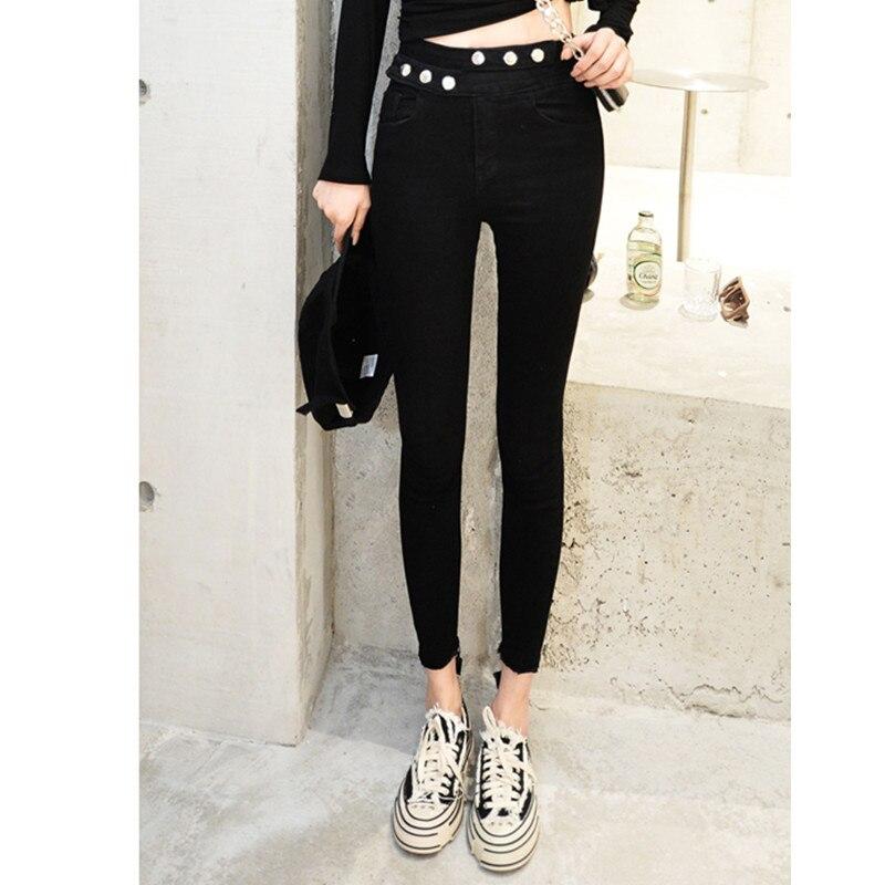 JUJULAND Hot Sale Push Up Jeans Woman Pencil Pants Vintage High Waist Jeans Women Casual Stretch Skinny Jeans Femme Black 9823-1