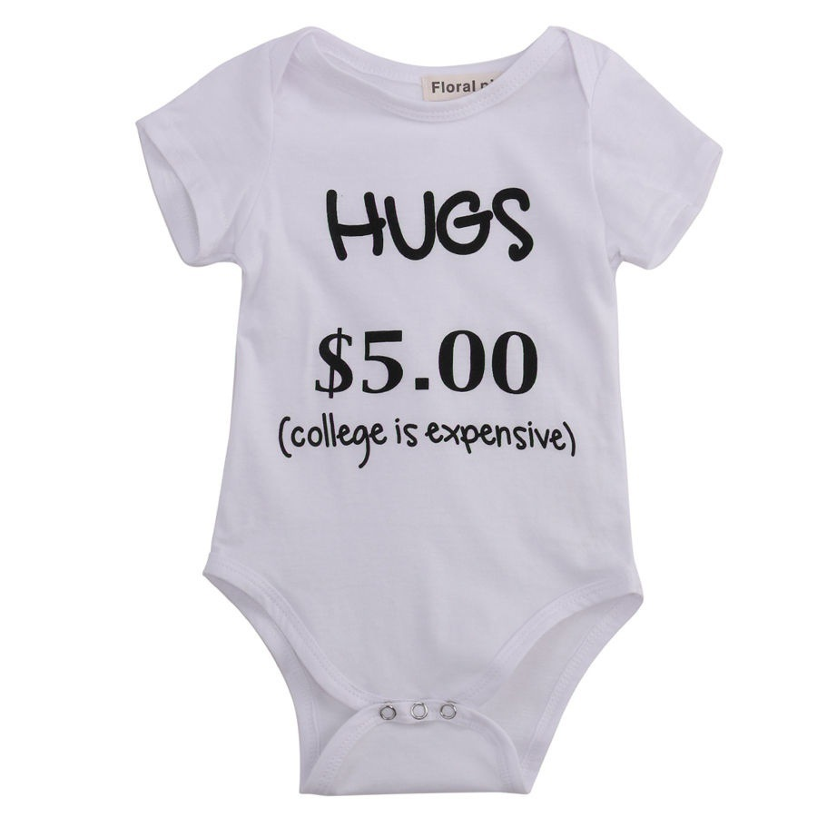 Baby Jumpsuit Baby Triangle Climbing Suit Hagis $5.00 Letter Printing Climbing Suit Round Neck Short Sleeve Letters Summer