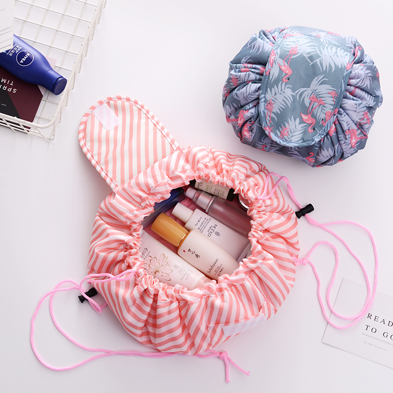 Women Travel Makeup Pouch Bags Drawstring Cosmetic Bag Organizer Flamingo Make Up Cases Beauty Toiletry Kit Tools Wash Storage