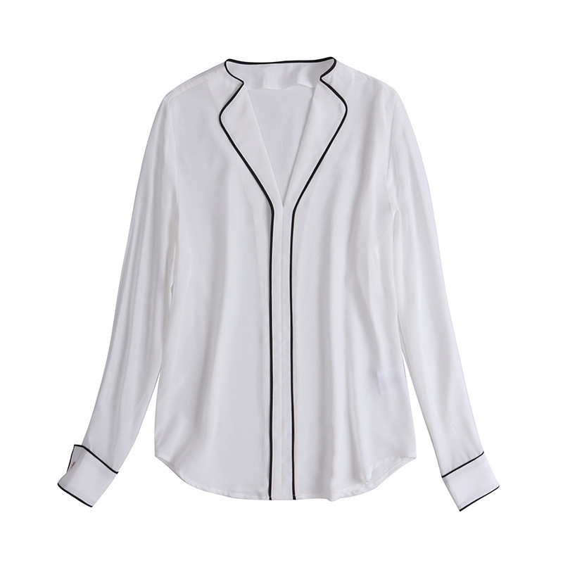 Blusas de trabajo elegantes 2019 camisas de oficina de otoño para mujer cuello en V Color bloque de retazos de manga larga Blanco marrón blusa de seda - 6