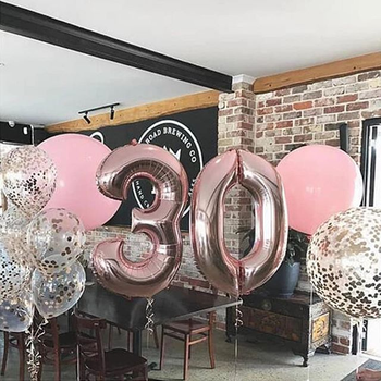 40 And 42 Inch Blue/Pink Big Number Foil Balloons For Birthday Wedding Engagement Party Decor