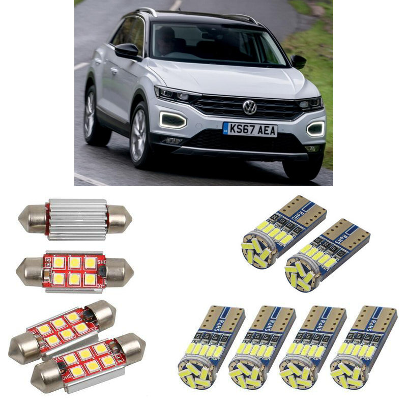 Interior Led Car Lights For Volkswage T-roc A11 Car Accessories License Plate Light 8pc