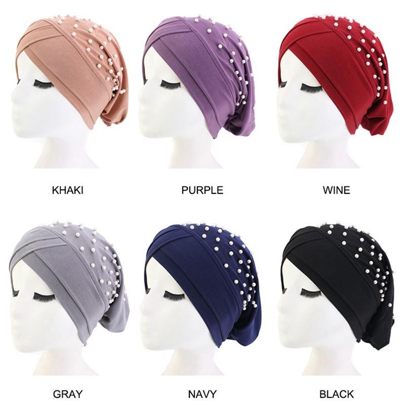 Muslim Suede Turban Caps Twist Pearls Turban Bonnet Woman Indian Hat Winter Turban Femme Musulman Headband