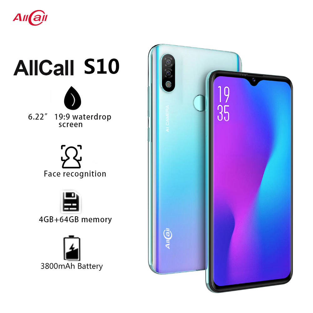 Global Version Allcall S10 Android 9.0 Octa Core 6.22' HD Plus+ Waterdrop 16MP+5MP Camera 3800mAh 4GB RAM 4G Celular Smartphone