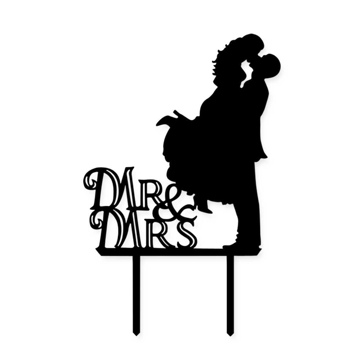 New Black Acrílico Do Bolo de Casamento Topper Para Decoração Mariage Mr Mrs Família chapéus de Coco Do Bolo Do Noivo Da Noiva Nupcial Chuveiro Decoração