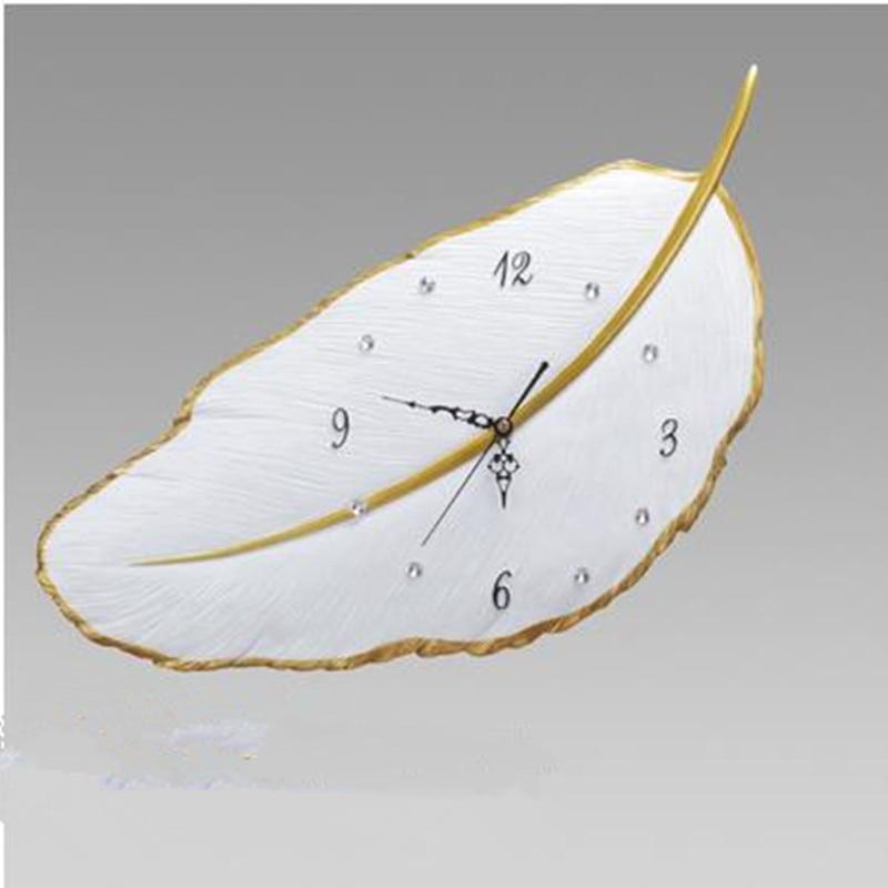 Belle horloge murale de feuille, horloge silencieuse de chambre à coucher de mode créative, décorations pour la maison modernes
