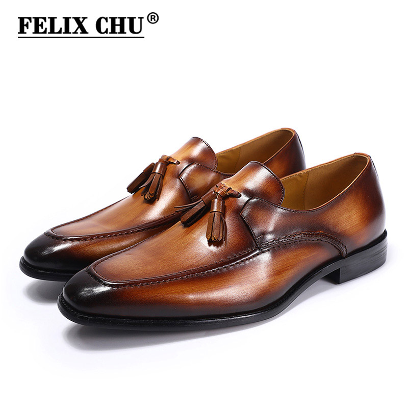 FELIX CHU 2020 Mens Street Fashion Tassel Loafers Genuine Leather Brown Formal Shoes Party Wedding Men Dress Casual Footwear