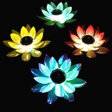Flor luz LED alimentada por energía Solar, fuente flotante, estanque, jardín, Lámpara de piscina, forma de loto realista, lámparas, Bombilla brillante, decoración de jardín