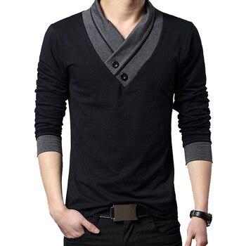 2020 Fashion Brand Trend Slim Fit Long Sleeve T Shirt Men Patchwork Collar Tee V-Neck Men T-Shirt Cotton T Shirts Plus Size 5XL
