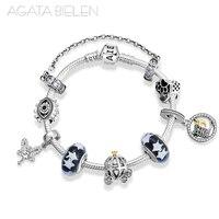 925 Sterling Silver Fairy tale world Finished product Bracelets Glass beads with starry sky Charm Bracelet Fashion Jewelry