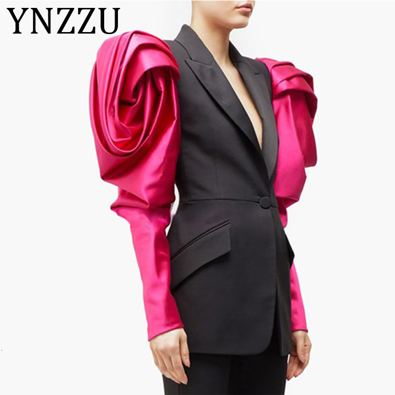 YNZZU 2019 Autumn New Design Bud Sleeve Patchwork Women's Blazer Chic Hit Color Puff Sleeve Notched Female Jacket Blazers A1248