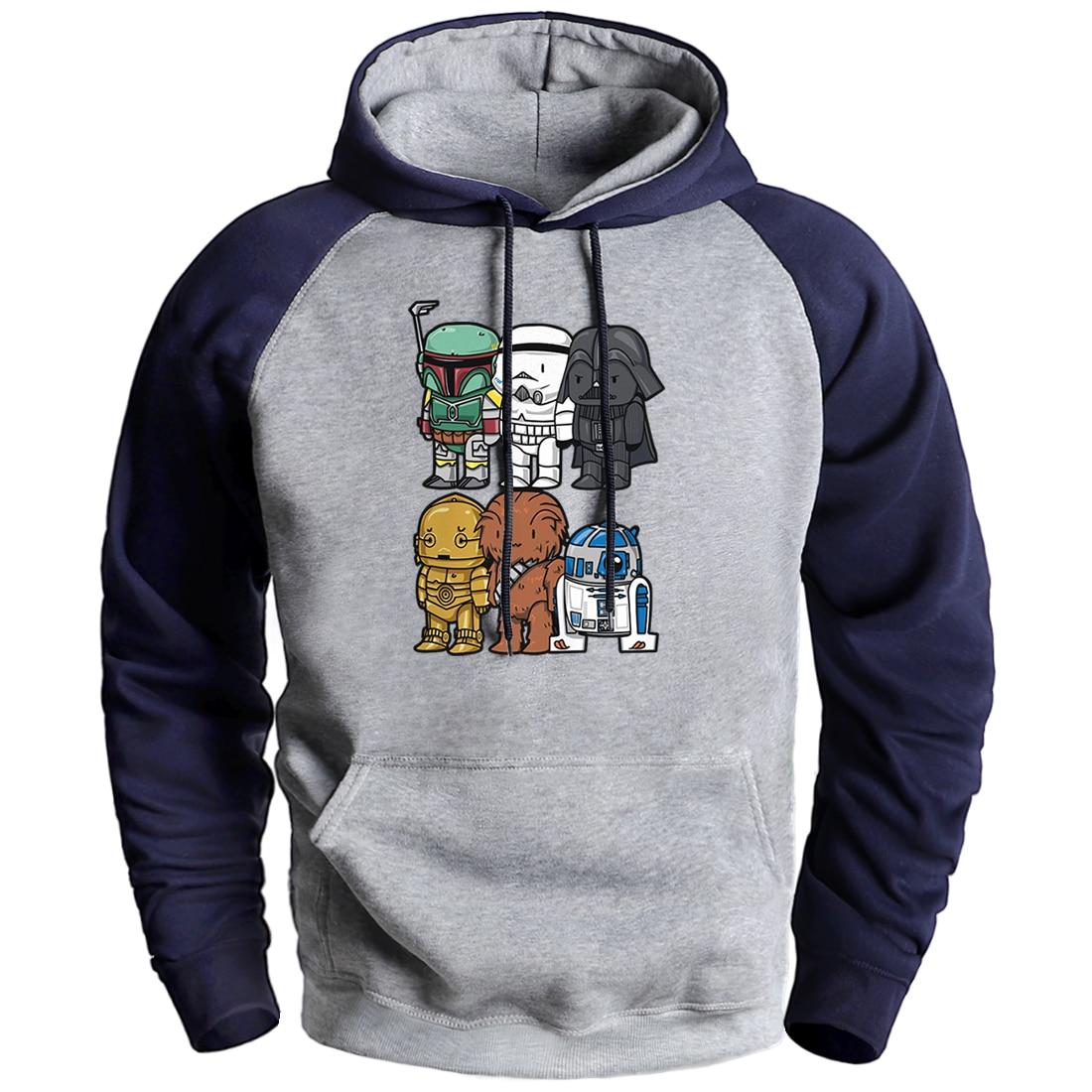 Yoda Darth Vader Hooded Sweatshirts Star Wars Fashion Cool Raglan Pullover Hoodies Men Winter Autumn Fleece Starwars Hoodies Top