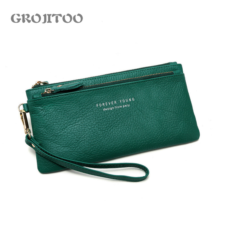 New wallet Korean style genuine leather long first layer cowhide wallet large capacity zipper handbag for women