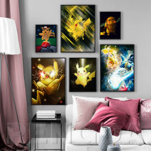 Nordic Printed Posters Wall Art Canvas Pikachu Painting Abstraction Animation Home Decoration Modern Bedside Background Pictures