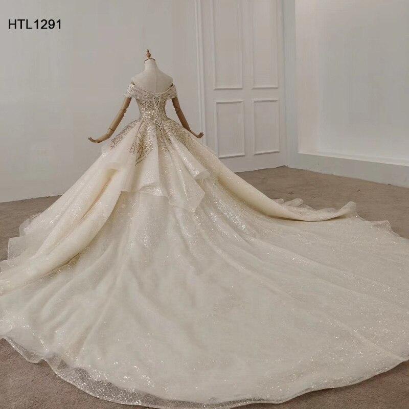 Image 4 - HTL1291 вечернее платье с открытыми плечами 2020 с аппликацией из Золотых Блесток женское вечернее платье большого размера со складками на шнуровке сзади Vestidos ElegantesВечерние платья    АлиЭкспресс