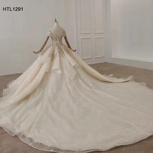 Image 4 - HTL1291 Lệch Vai Dạ Hội 2020 Vàng Đầm Táo Nữ Dạ Hội Plus Kích Thước Pleat Phối Ren Lưng Vestidos Elegantes