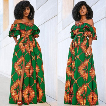 African Dresses Two Piece Set For Women Dashiki Print African Clothes Ruffles Crop Top&Long Skirt Suit Tracksuit Vestidos 2020 2020 african dashiki design clothes for lady print appliques with two pockets spring