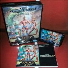 Couvercle EU hache dorée avec boîte et manuel pour Sega Megadrive Genesis Console de jeu vidéo carte MD 16 bits