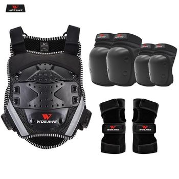 wosawe motorcross back protector skating snow body armour motorcycle spine guard moto jacket kneepads elbow guard moto armor WOSAWE Children's Motorcycle Armor Body Moto Jacket Back Shoulder Kids Body Protector Gear Motorcross KneePads Elbow Protector
